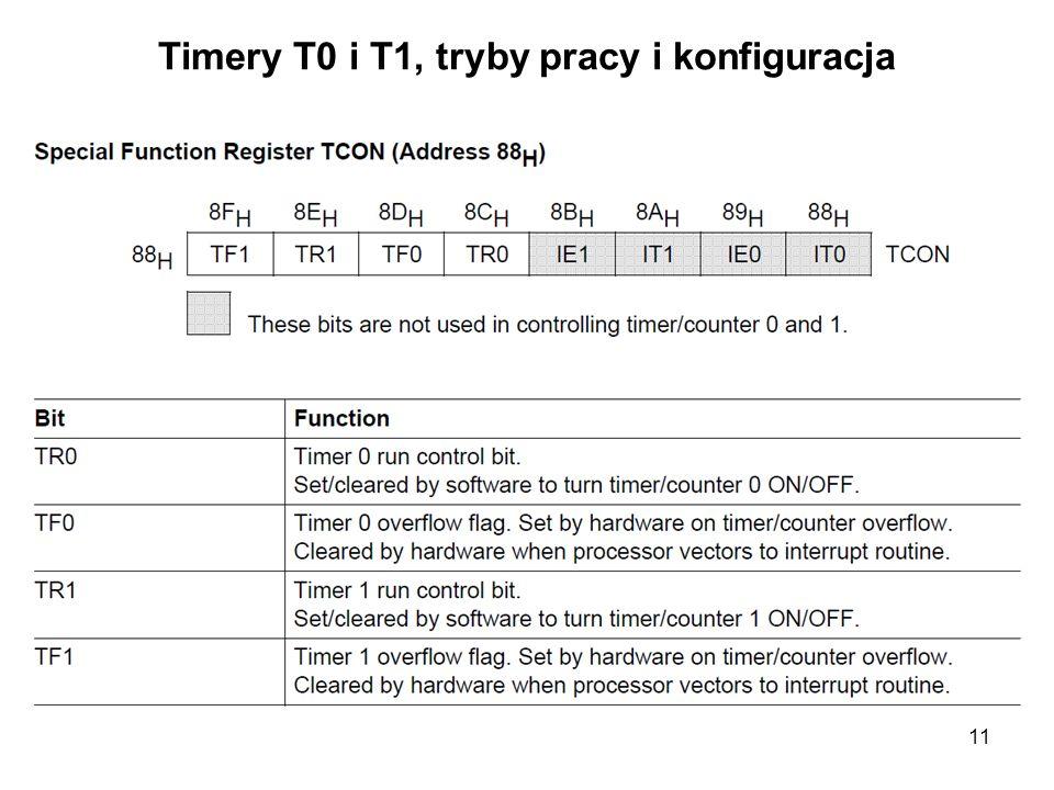 Timery T0 i T1, tryby pracy i konfiguracja