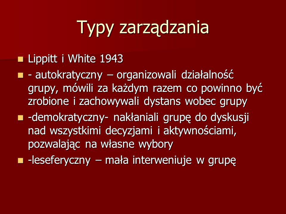 Typy zarządzania Lippitt i White 1943