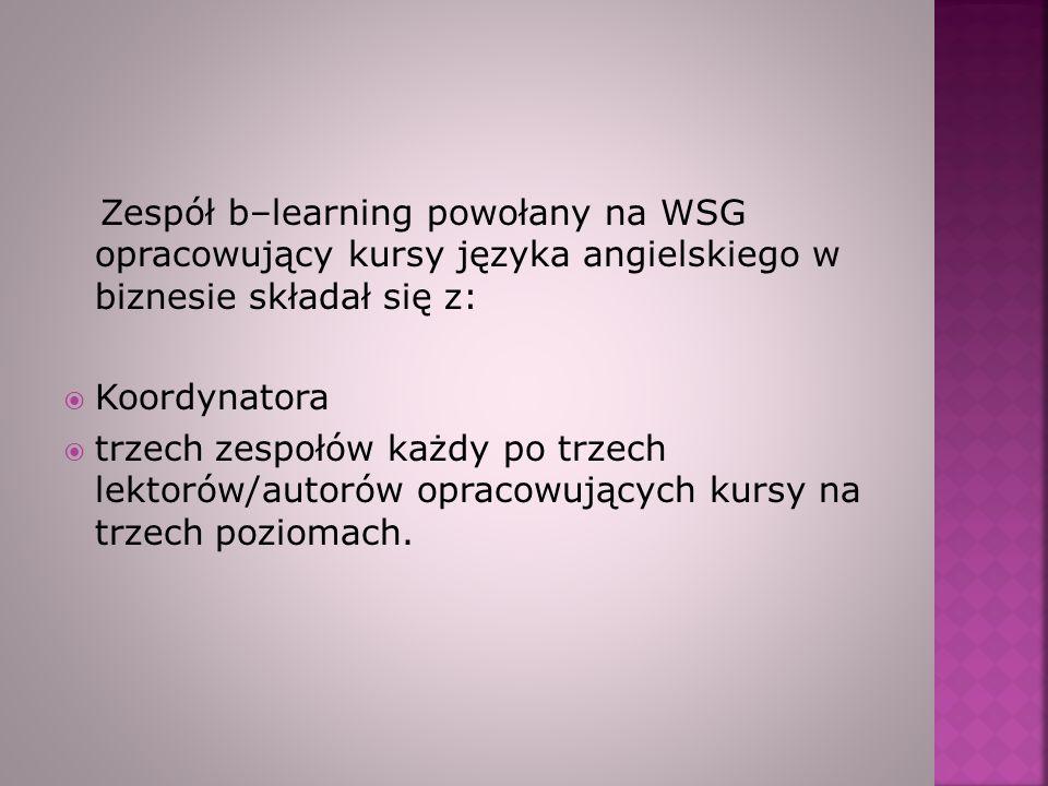 Zespół b–learning powołany na WSG opracowujący kursy języka angielskiego w biznesie składał się z: