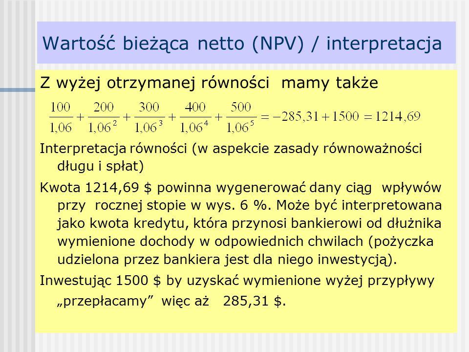 Wartość bieżąca netto (NPV) / interpretacja