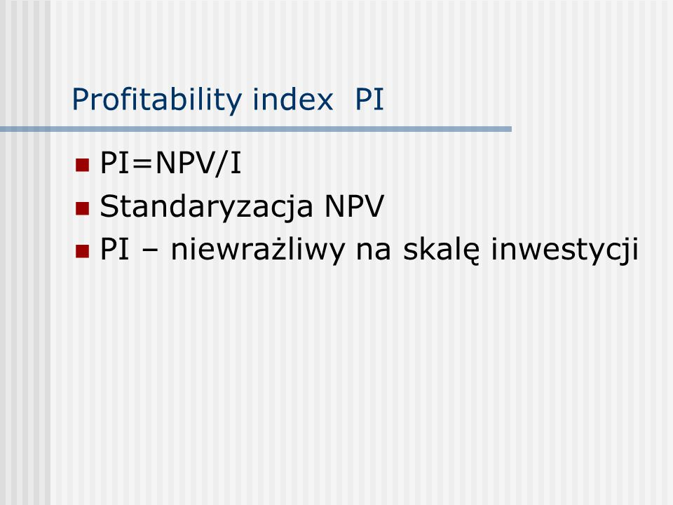 Profitability index PI