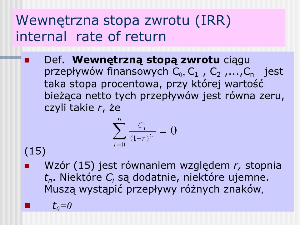 Wewnętrzna stopa zwrotu (IRR) internal rate of return