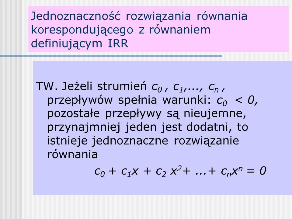 Jednoznaczność rozwiązania równania korespondującego z równaniem definiującym IRR