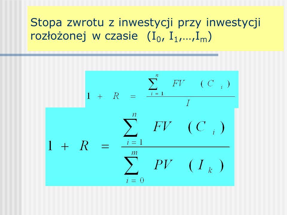 Stopa zwrotu z inwestycji przy inwestycji rozłożonej w czasie (I0, I1,…,Im)