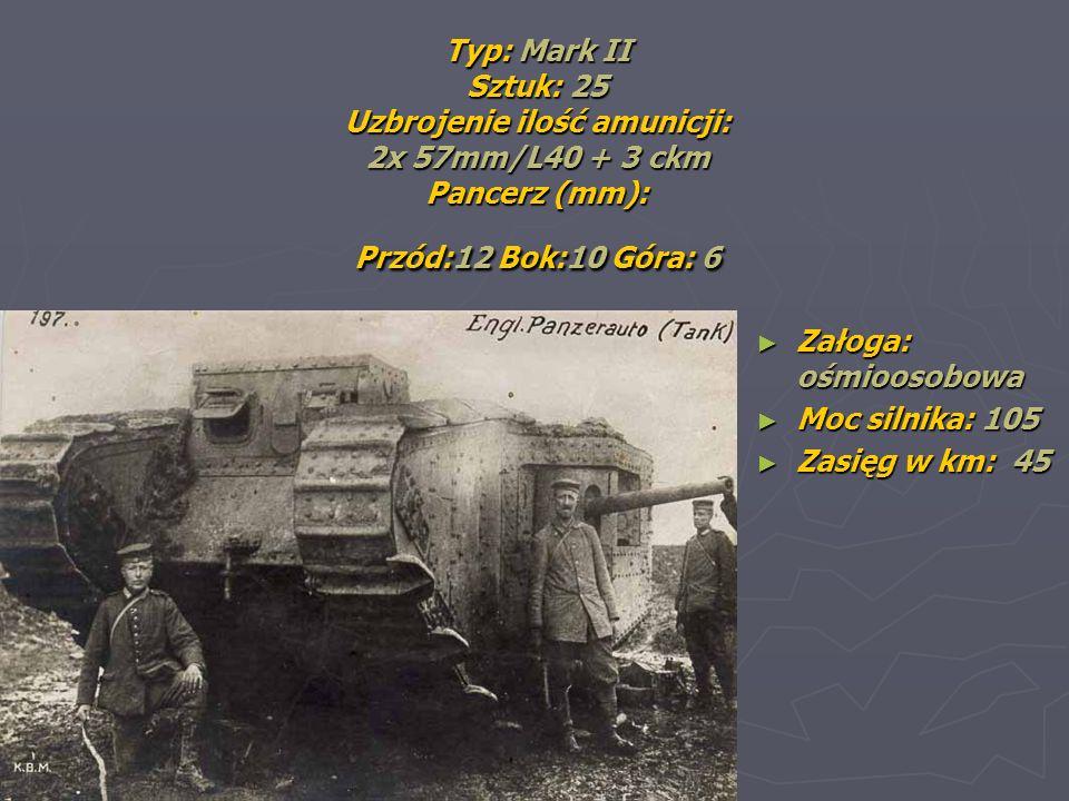Typ: Mark II Sztuk: 25 Uzbrojenie ilość amunicji: 2x 57mm/L40 + 3 ckm Pancerz (mm): Przód:12 Bok:10 Góra: 6