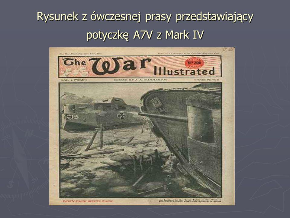 Rysunek z ówczesnej prasy przedstawiający potyczkę A7V z Mark IV