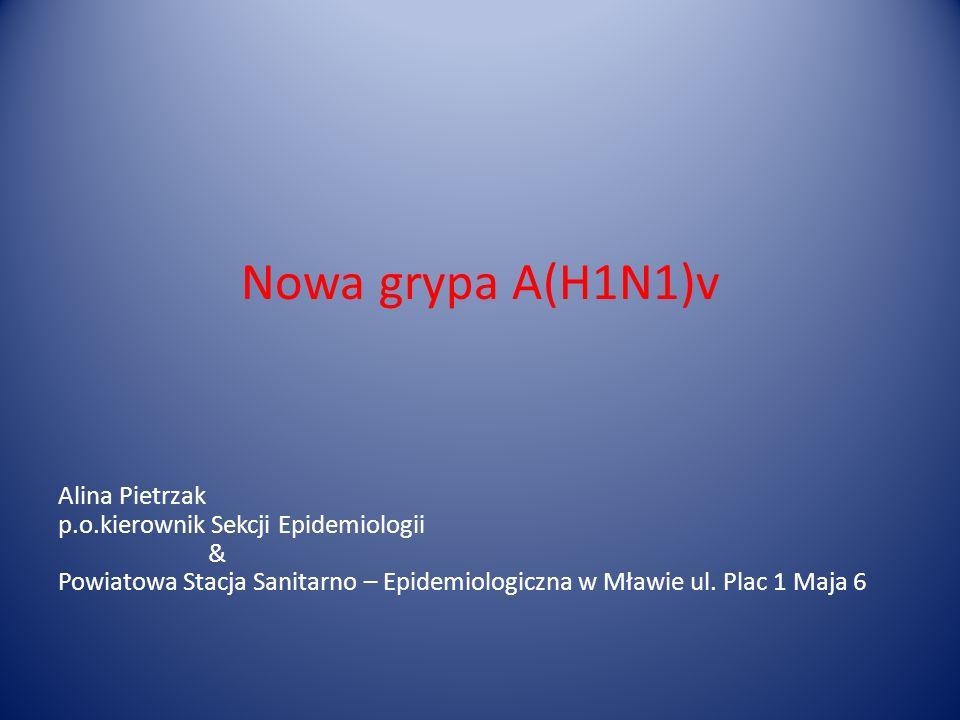Nowa grypa A(H1N1)v Alina Pietrzak p.o.kierownik Sekcji Epidemiologii