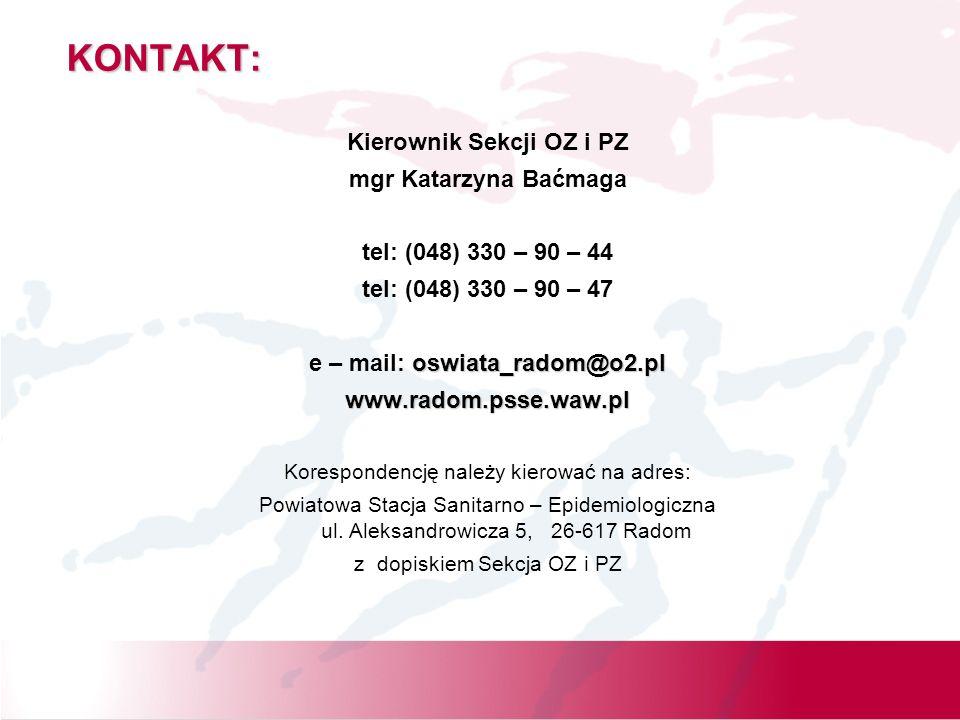 Kierownik Sekcji OZ i PZ e – mail: oswiata_radom@o2.pl