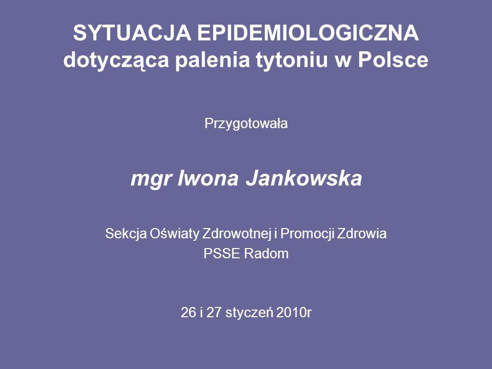 SYTUACJA EPIDEMIOLOGICZNA dotycząca palenia tytoniu w Polsce