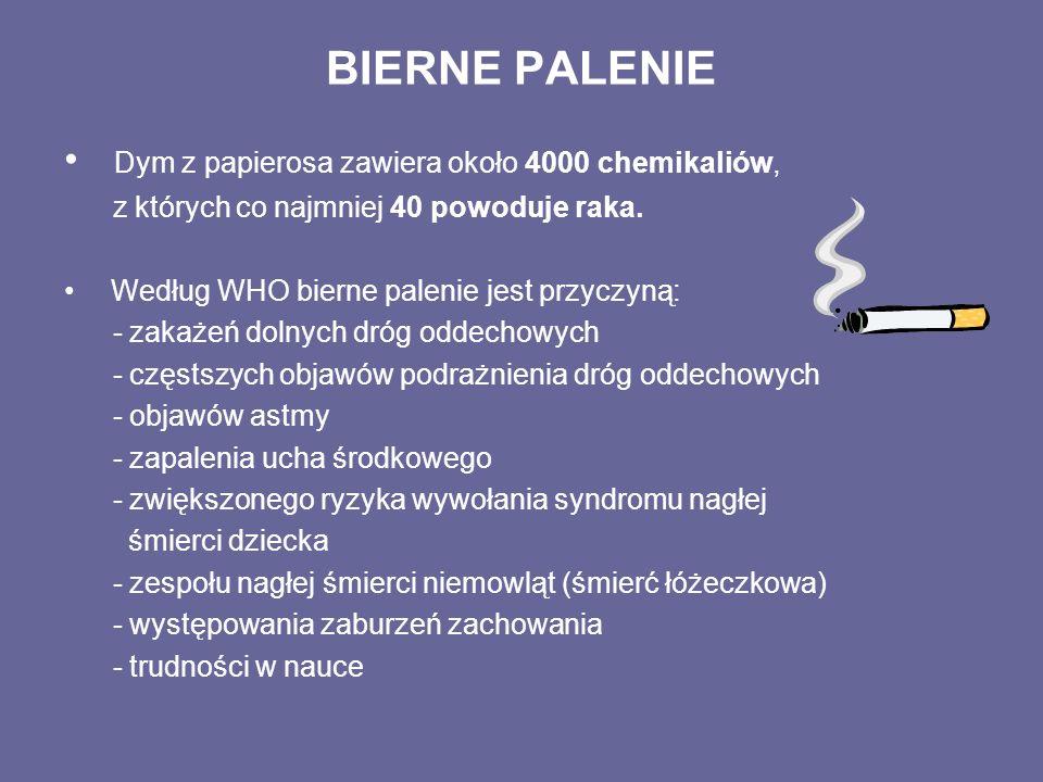 BIERNE PALENIE Dym z papierosa zawiera około 4000 chemikaliów,