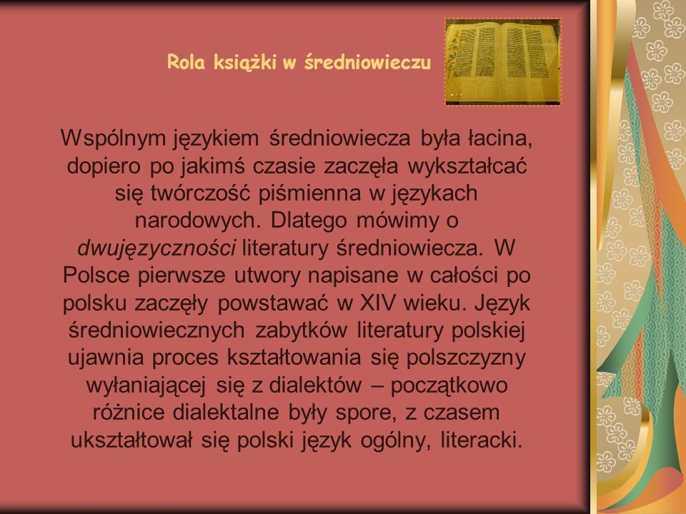 Rola książki w średniowieczu