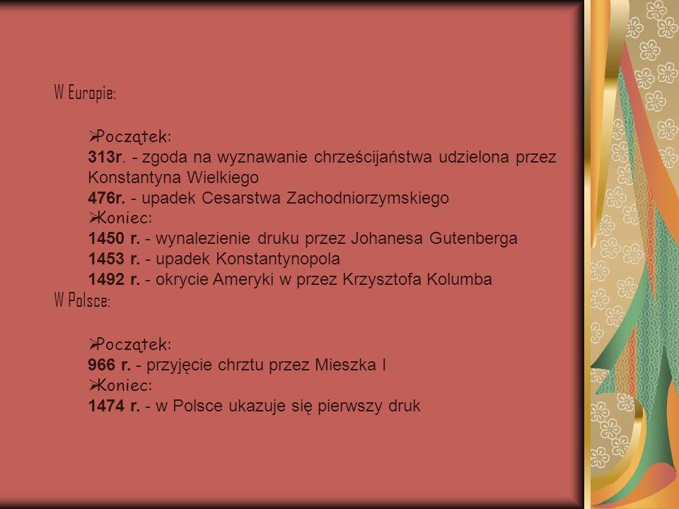 W Europie: W Polsce: Początek: