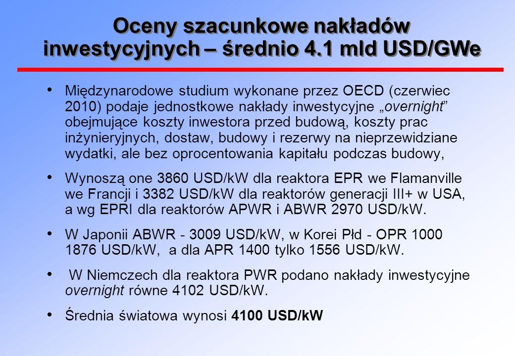 Oceny szacunkowe nakładów inwestycyjnych – średnio 4.1 mld USD/GWe
