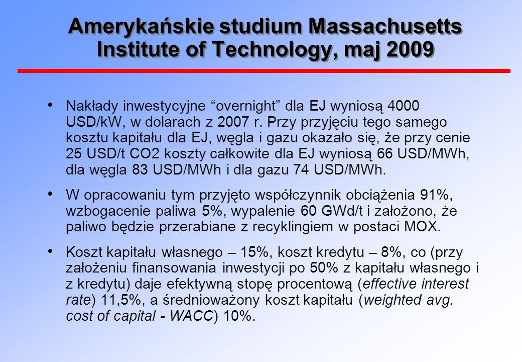 Amerykańskie studium Massachusetts Institute of Technology, maj 2009