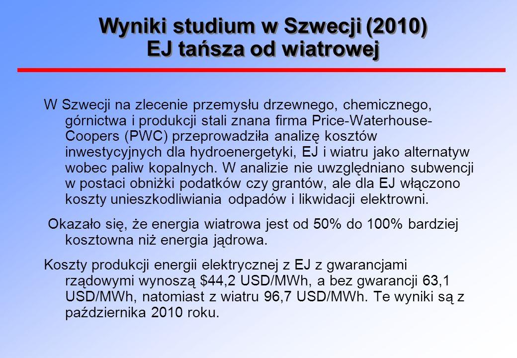 Wyniki studium w Szwecji (2010) EJ tańsza od wiatrowej