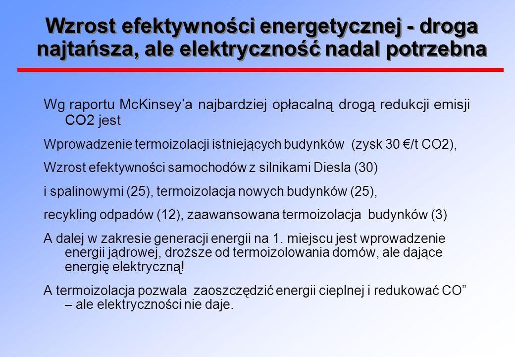 Wzrost efektywności energetycznej - droga najtańsza, ale elektryczność nadal potrzebna