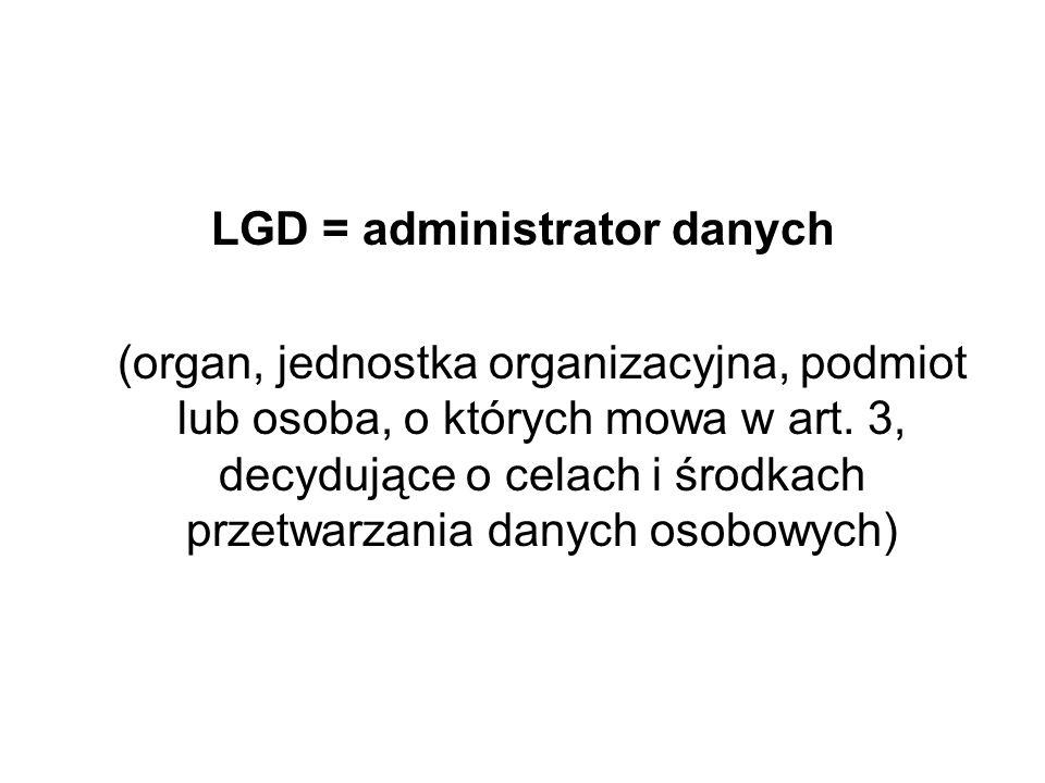 LGD = administrator danych
