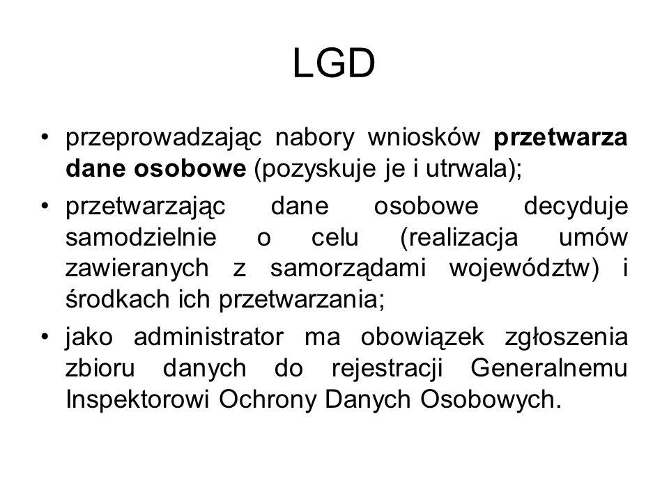 LGD przeprowadzając nabory wniosków przetwarza dane osobowe (pozyskuje je i utrwala);