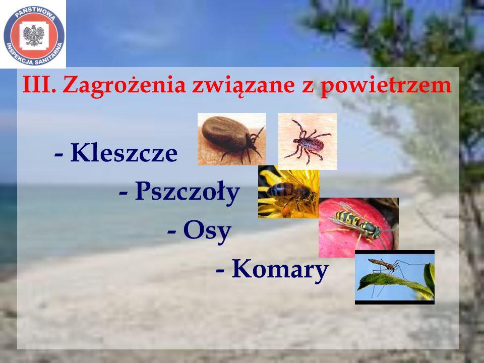 - Pszczoły - Osy - Komary III. Zagrożenia związane z powietrzem