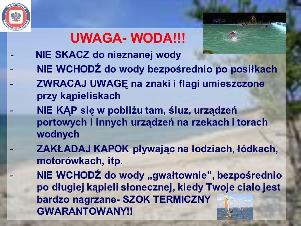 UWAGA- WODA!!! - NIE SKACZ do nieznanej wody. NIE WCHODŹ do wody bezpośrednio po posiłkach.