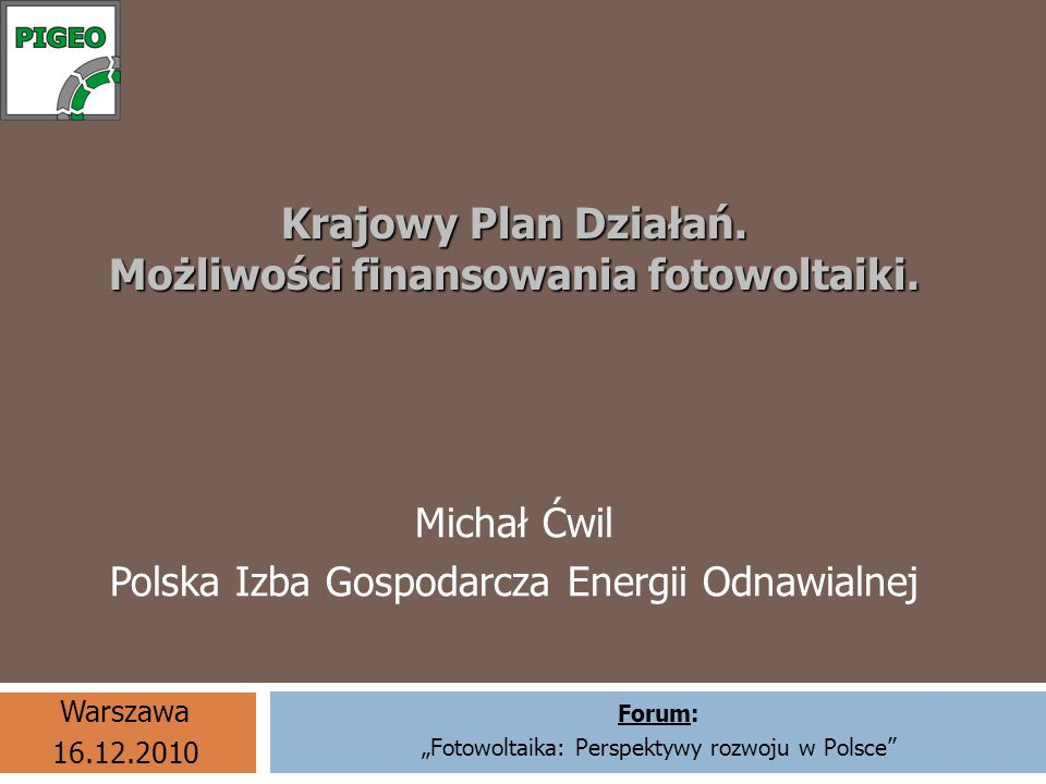 Krajowy Plan Działań. Możliwości finansowania fotowoltaiki.