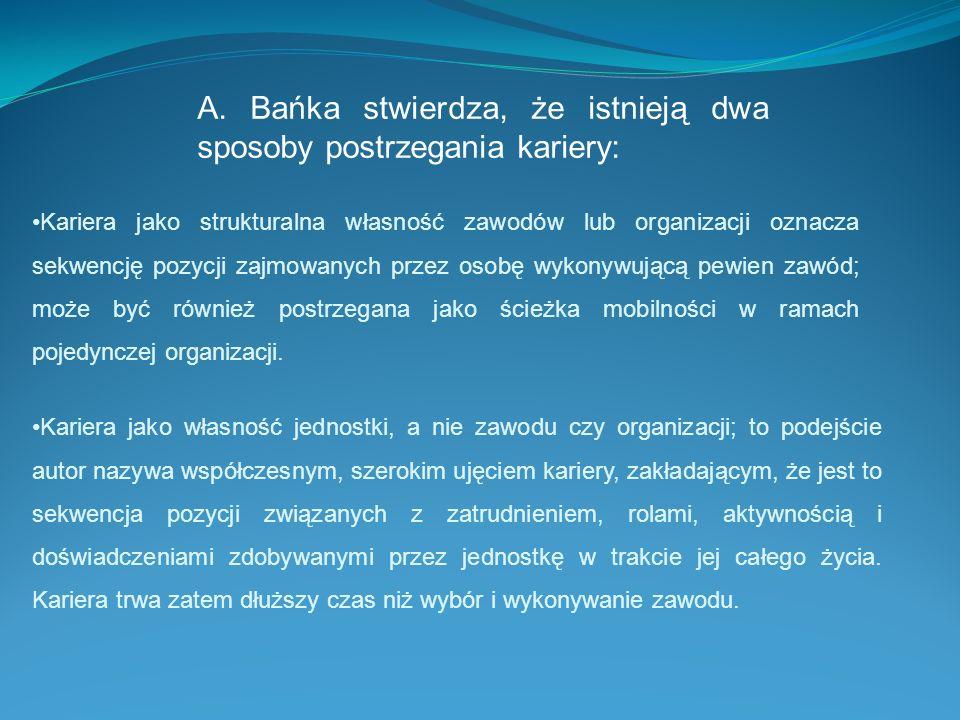 A. Bańka stwierdza, że istnieją dwa sposoby postrzegania kariery: