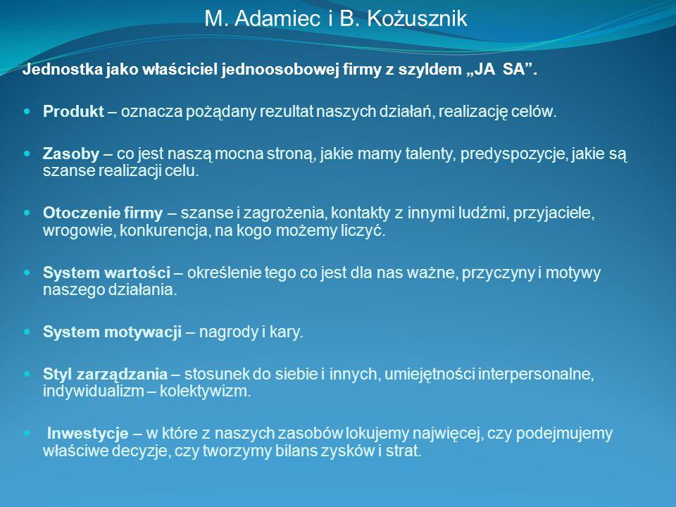 """M. Adamiec i B. Kożusznik Jednostka jako właściciel jednoosobowej firmy z szyldem """"JA SA ."""