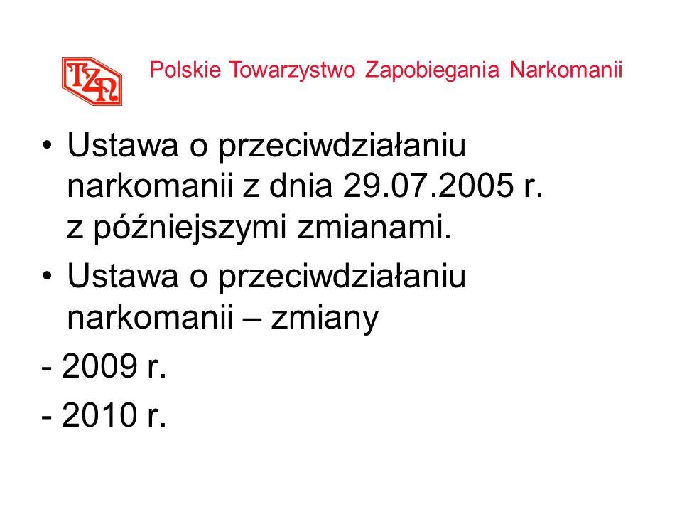 Ustawa o przeciwdziałaniu narkomanii – zmiany - 2009 r. - 2010 r.