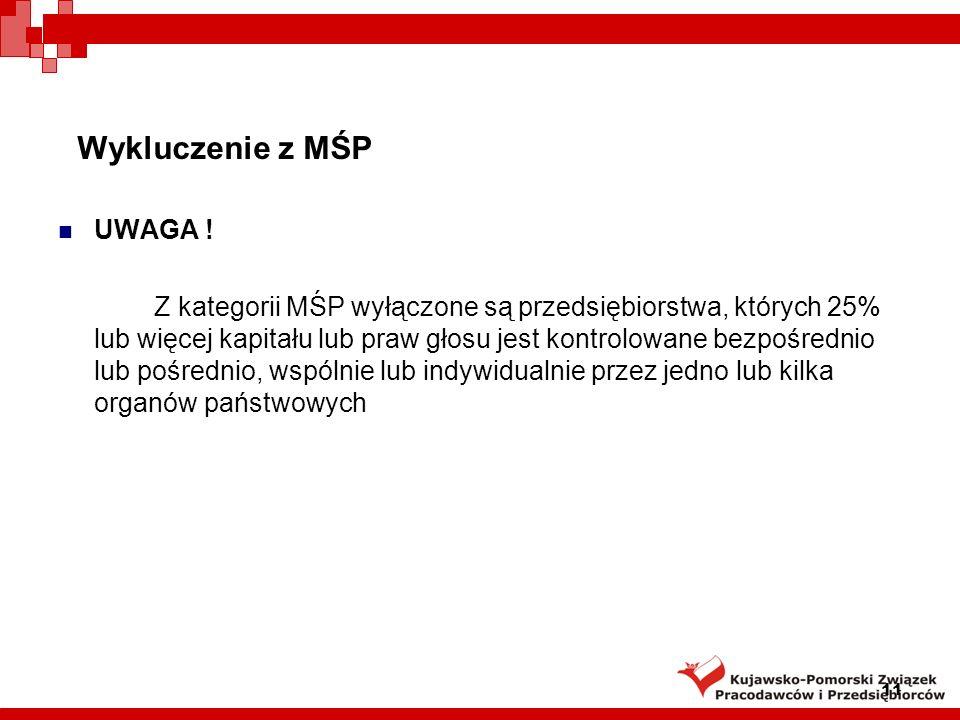 Wykluczenie z MŚP UWAGA !