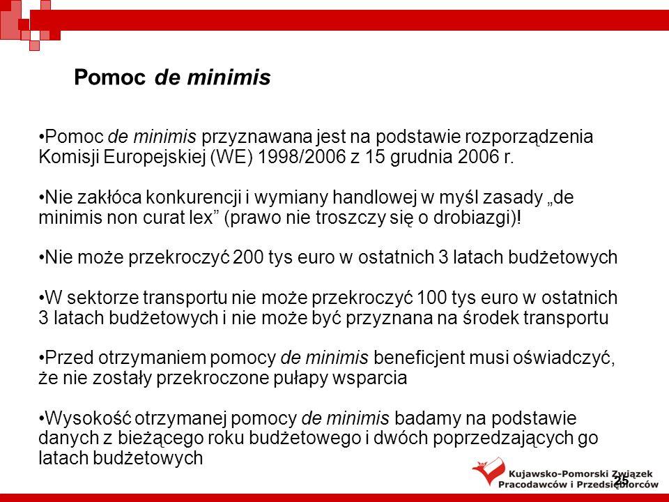 Pomoc de minimis Pomoc de minimis przyznawana jest na podstawie rozporządzenia Komisji Europejskiej (WE) 1998/2006 z 15 grudnia 2006 r.