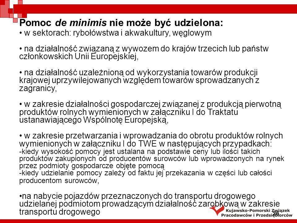 Pomoc de minimis nie może być udzielona: