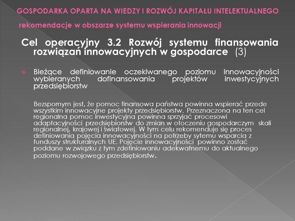 rekomendacje w obszarze systemu wspierania innowacji