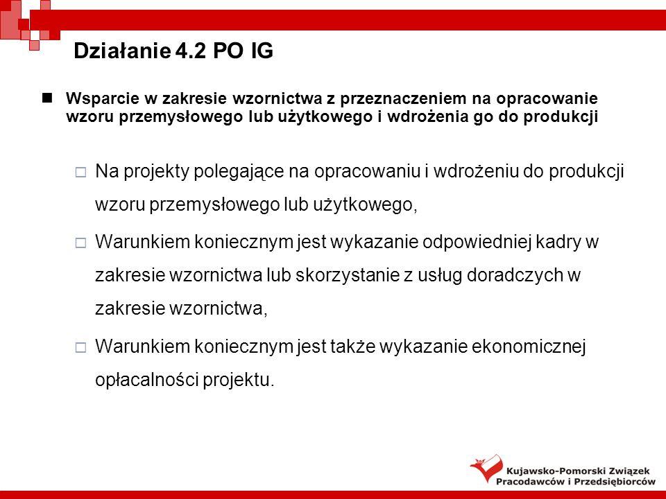 Działanie 4.2 PO IGWsparcie w zakresie wzornictwa z przeznaczeniem na opracowanie wzoru przemysłowego lub użytkowego i wdrożenia go do produkcji.