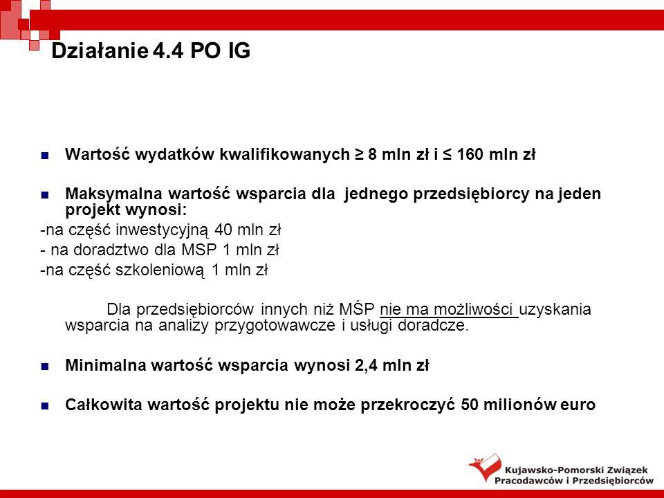 Działanie 4.4 PO IGWartość wydatków kwalifikowanych ≥ 8 mln zł i ≤ 160 mln zł.