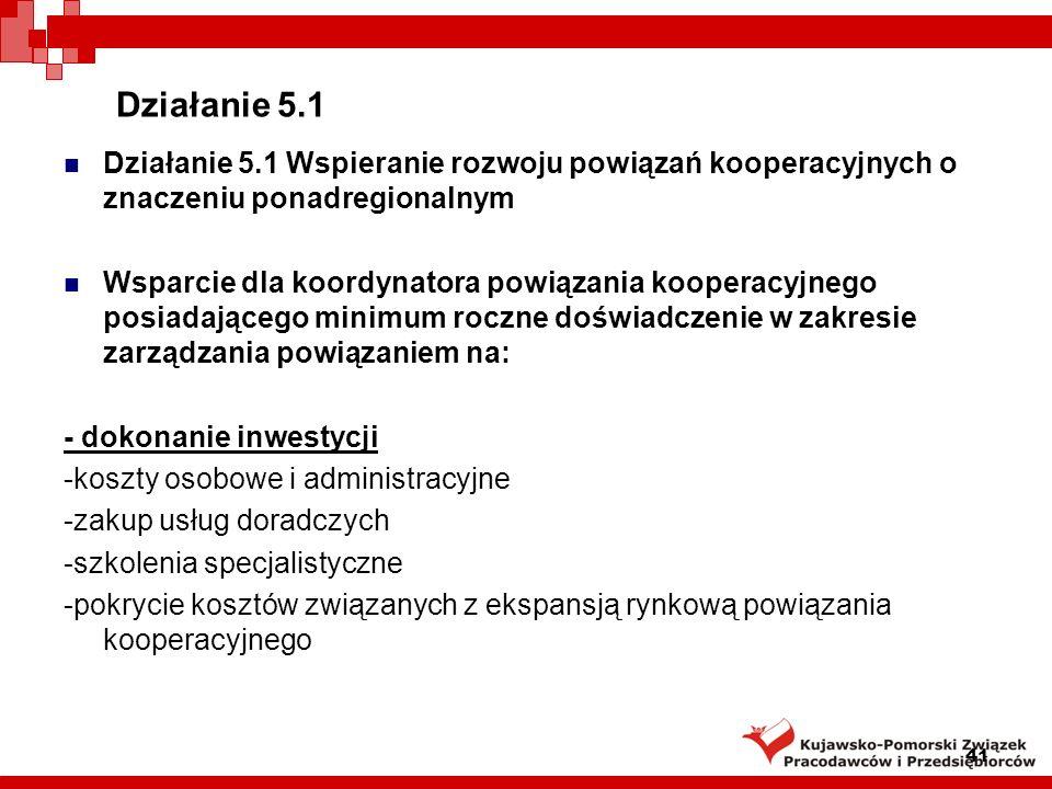Działanie 5.1Działanie 5.1 Wspieranie rozwoju powiązań kooperacyjnych o znaczeniu ponadregionalnym.