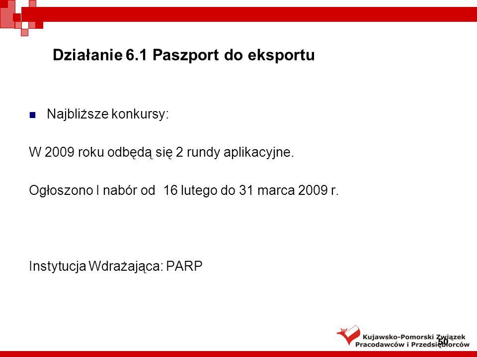 Działanie 6.1 Paszport do eksportu