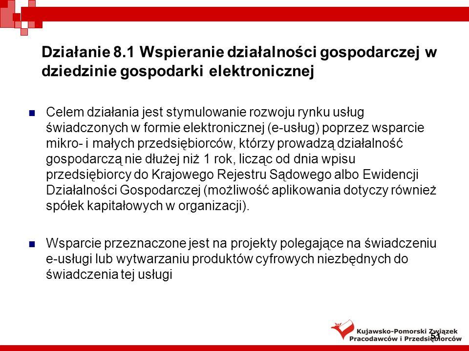Działanie 8.1 Wspieranie działalności gospodarczej w dziedzinie gospodarki elektronicznej