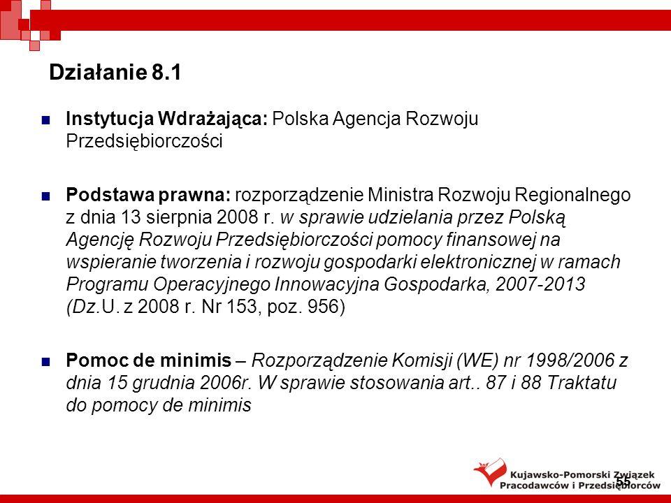 Działanie 8.1 Instytucja Wdrażająca: Polska Agencja Rozwoju Przedsiębiorczości.