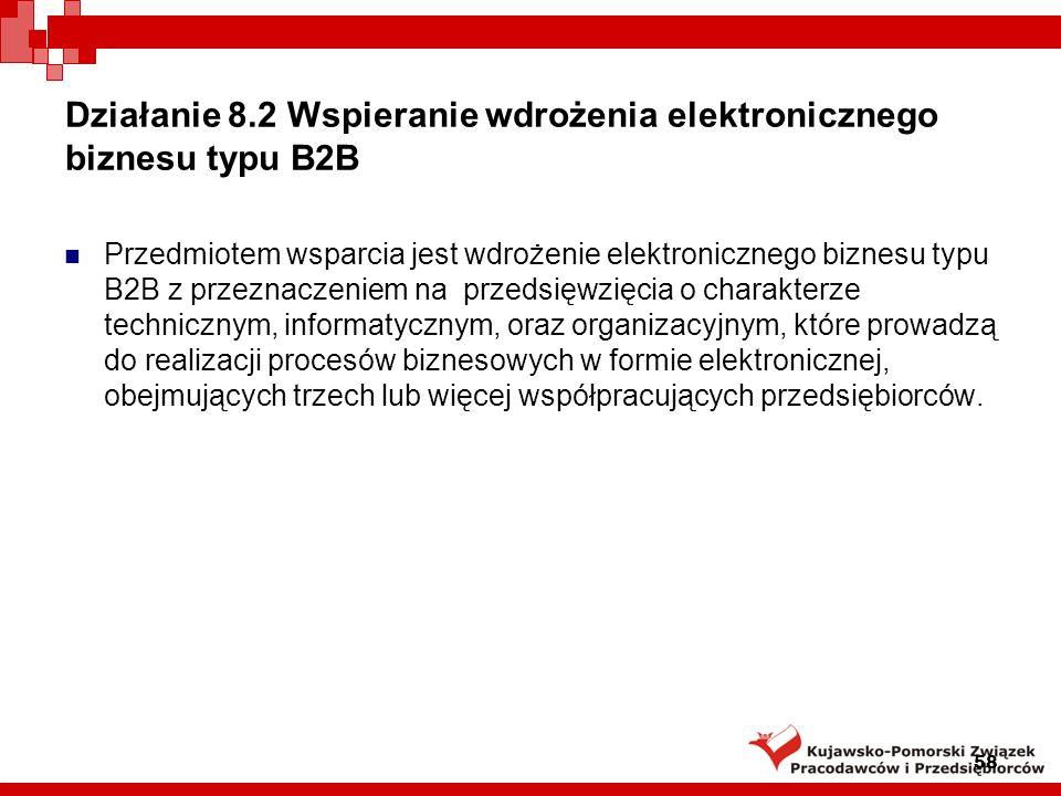Działanie 8.2 Wspieranie wdrożenia elektronicznego biznesu typu B2B