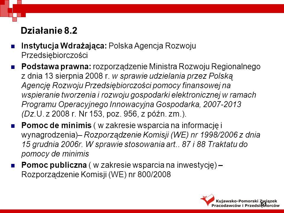Działanie 8.2 Instytucja Wdrażająca: Polska Agencja Rozwoju Przedsiębiorczości.