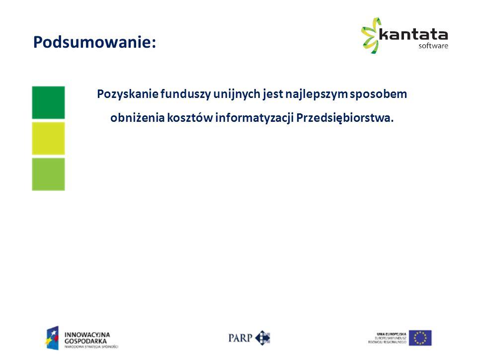Podsumowanie: Pozyskanie funduszy unijnych jest najlepszym sposobem obniżenia kosztów informatyzacji Przedsiębiorstwa.
