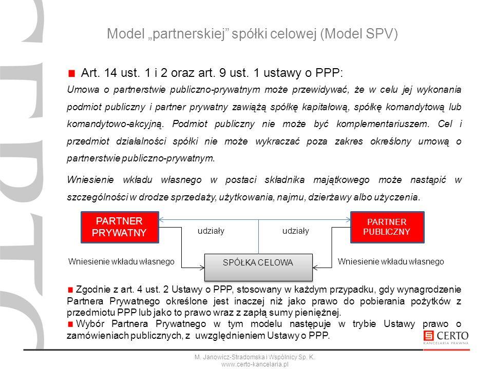 "Model ""partnerskiej spółki celowej (Model SPV)"