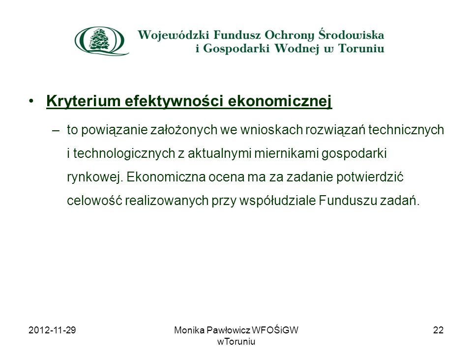 Monika Pawłowicz WFOŚiGW wToruniu