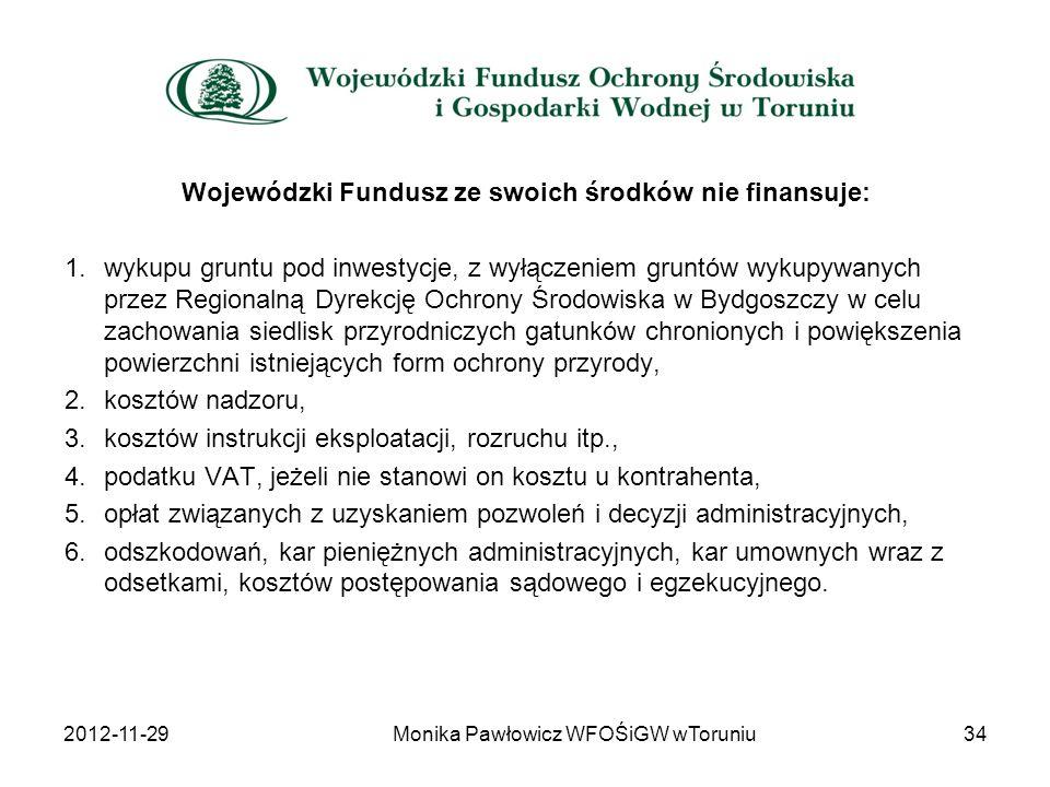 Wojewódzki Fundusz ze swoich środków nie finansuje: