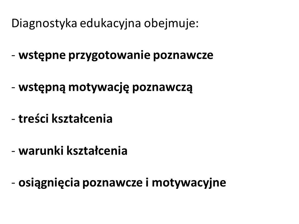 Diagnostyka edukacyjna obejmuje: