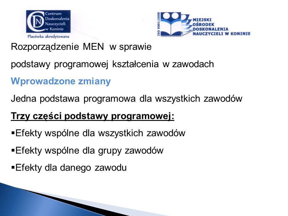 Rozporządzenie MEN w sprawie podstawy programowej kształcenia w zawodach