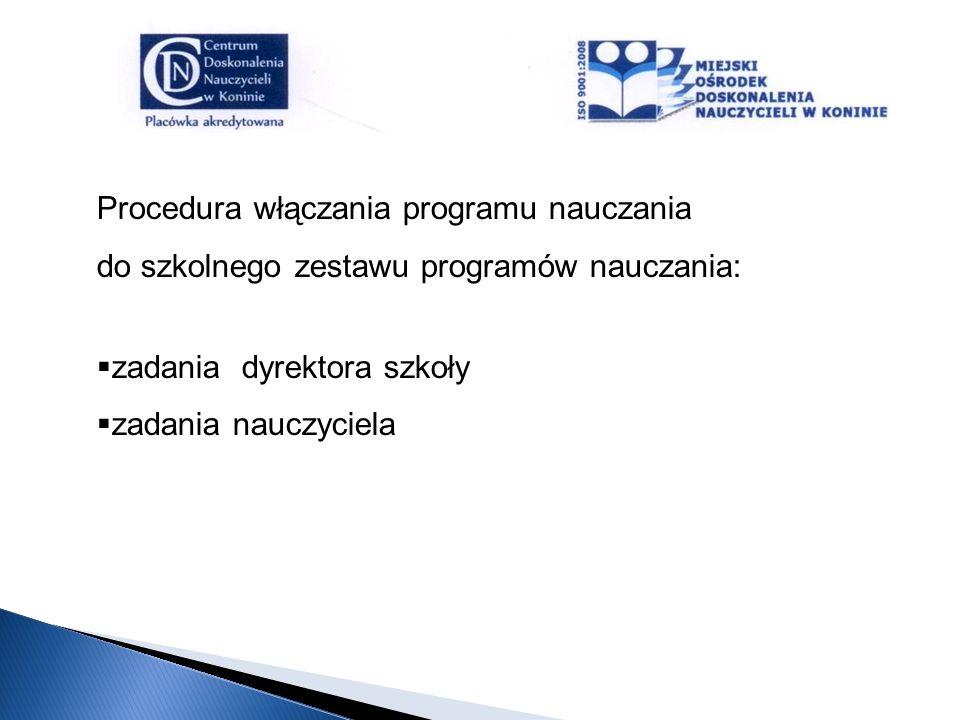 Procedura włączania programu nauczania