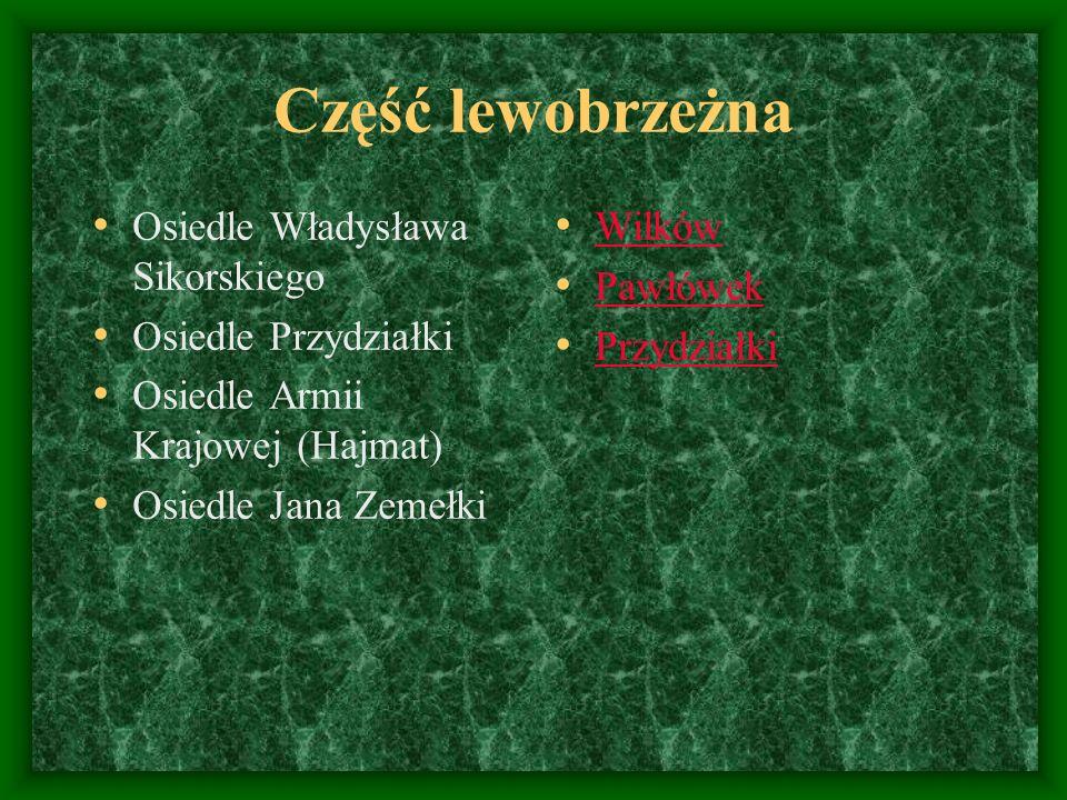 Część lewobrzeżna Osiedle Władysława Sikorskiego Osiedle Przydziałki
