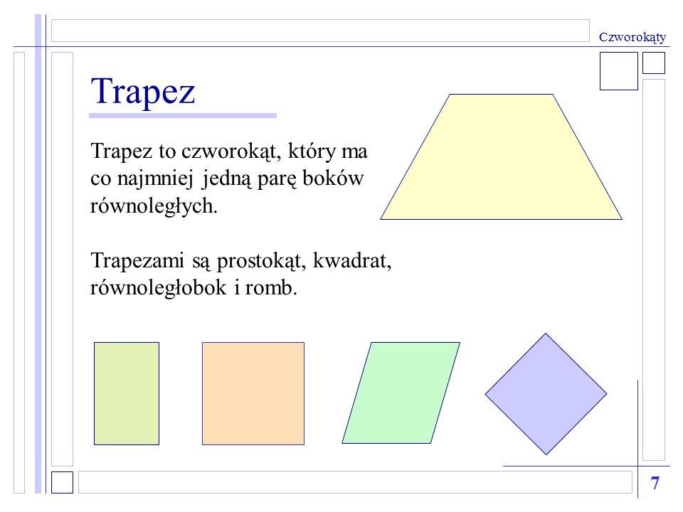 Trapez Trapez to czworokąt, który ma co najmniej jedną parę boków