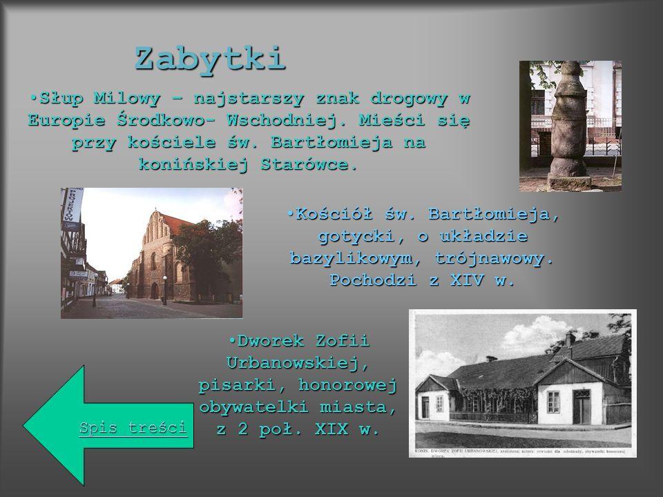 Zabytki Słup Milowy – najstarszy znak drogowy w Europie Środkowo- Wschodniej. Mieści się przy kościele św. Bartłomieja na konińskiej Starówce.